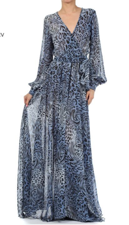 1d227007a07b blue-gray leopard full sweep sheer chiffon maxi dress long sleeves skirt vtg  stl #tamarstreasuresgeneric #Maxi #Formal