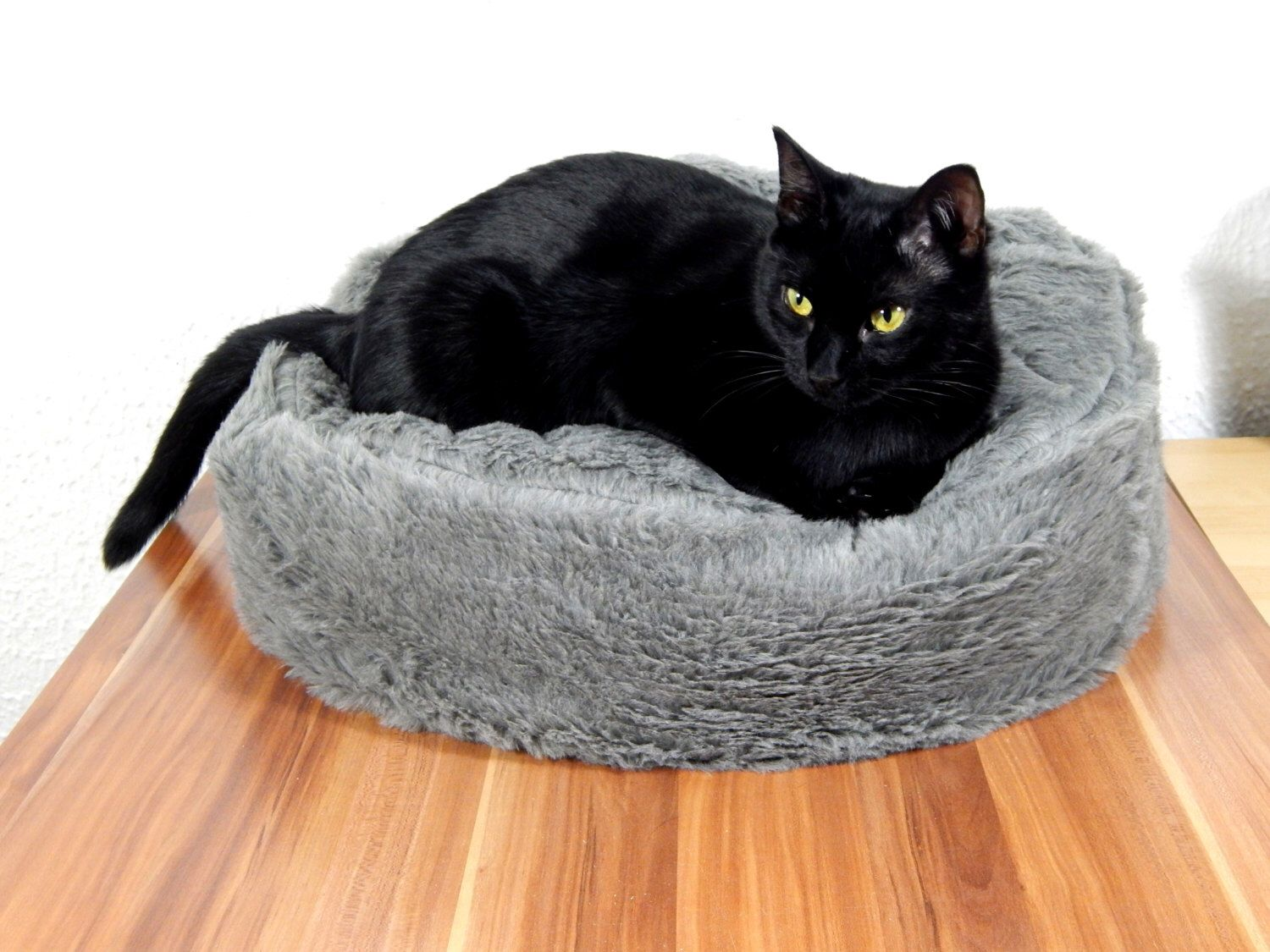 Cat Bean Bag Bed Fluffy Grey Synthetic Fur For Your Royal Pets Gift Filled With Filling Non Slip Material By Omorokapets On