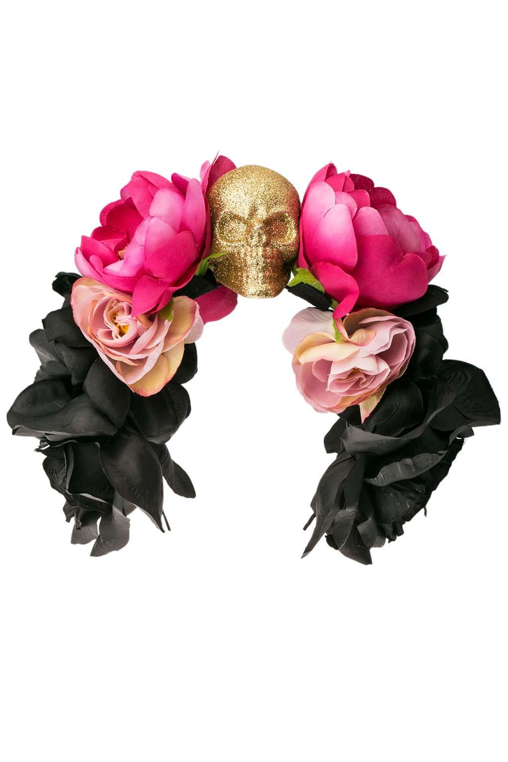 Statement Skull And Flower Alice Band By Orelia New In