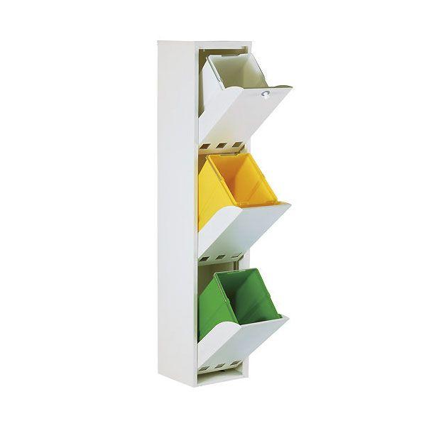 3 Compartimentos de 20l. CUBEK Cubo de Basura para Reciclar en Acero Lacado Color Blanco DON HIERRO