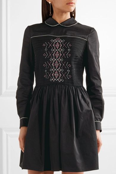 9b90256154f Miu Miu - Smocked Embroidered Cotton Mini Dress - Black - IT42 ...
