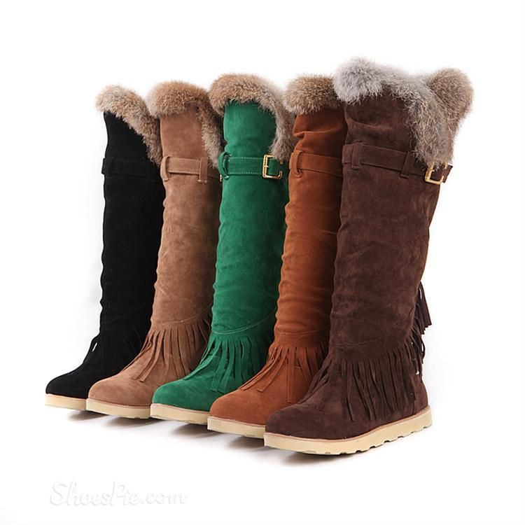 ddb81fc94d7d Comfortable and Warm Snow Boots with Cony Hair   Tassels