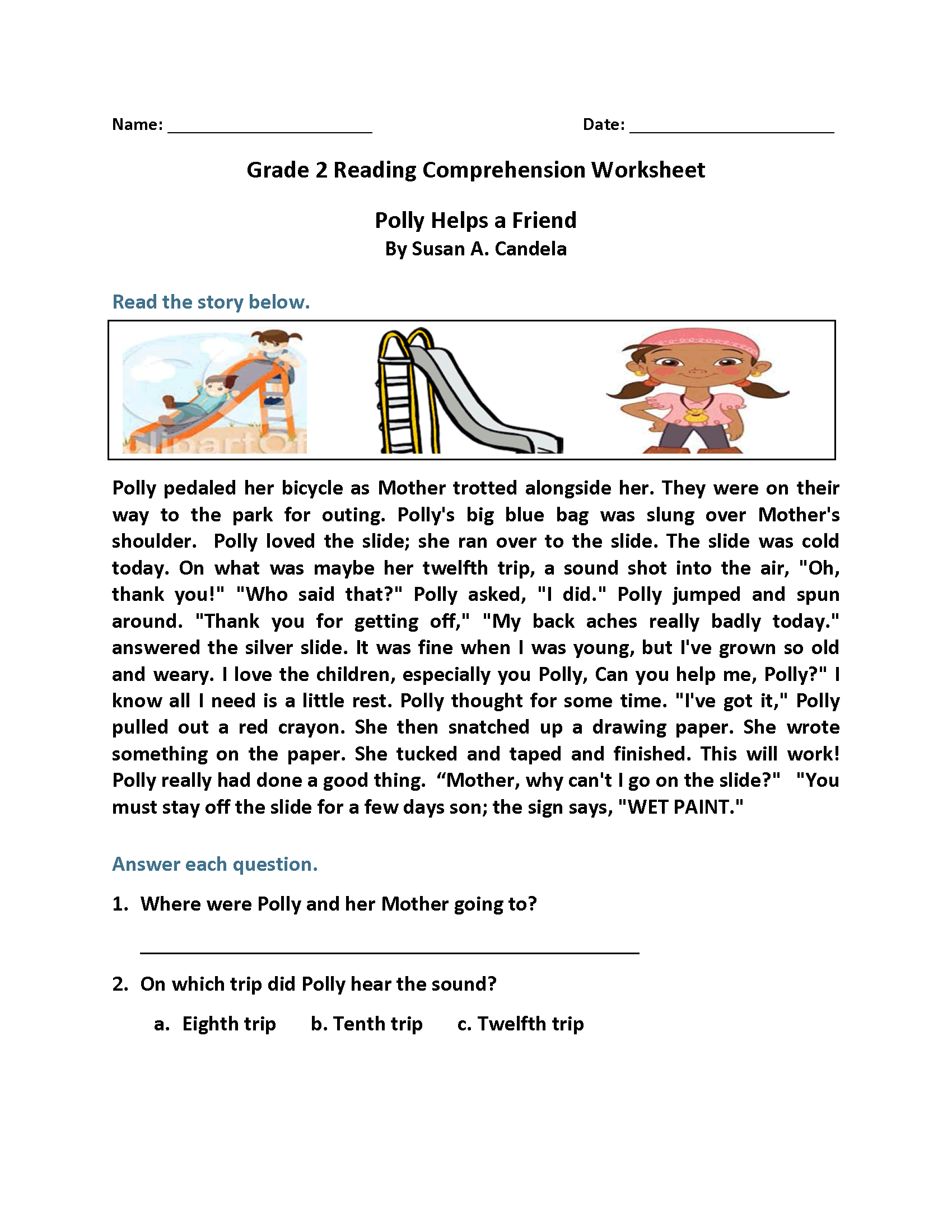 Polly Helps A Friend Second Grade Reading Worksheets Reading Comprehension Worksheets Reading Comprehension 2nd Grade Reading Worksheets [ 2200 x 1700 Pixel ]