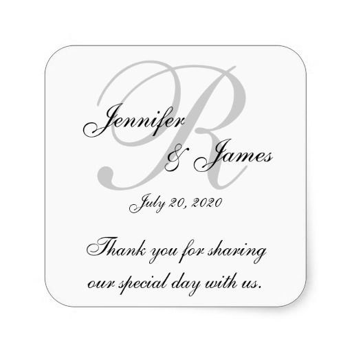 Monogram Wedding Thank You Labels Stickers