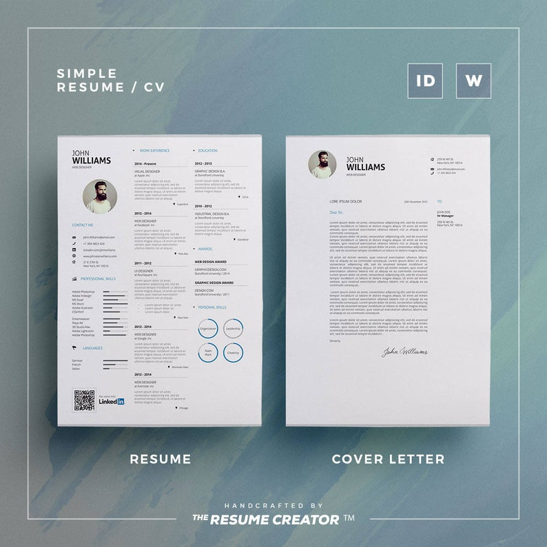 Simple Resume/Cv Volume 2 Word and Indesign Template
