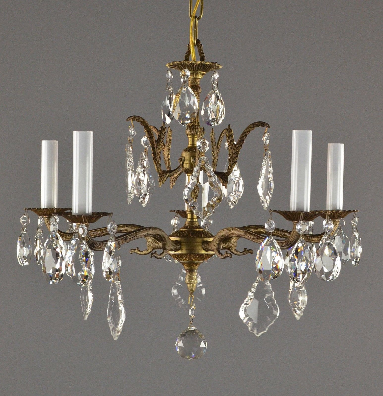Spanish brass crystal chandelier c1950 vintage antique gold french spanish brass crystal chandelier c1950 vintage antique gold french style ebay mozeypictures Image collections