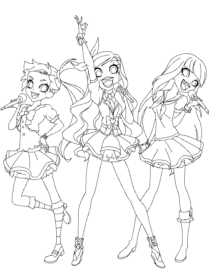 aikatsu lolirock line art by TheLocked
