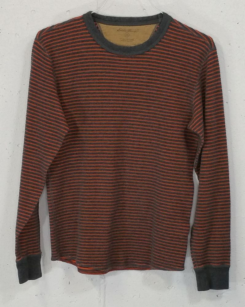 Eddie Bauer Mens 100% Cotton Striped Long Sleeve Thermal