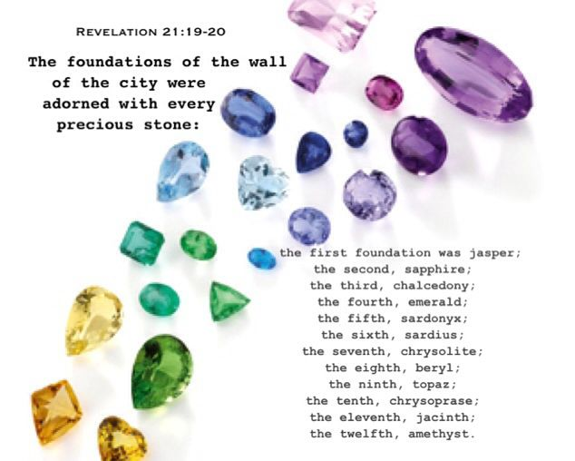 Although The Entire Wall Is Jasper The Twelve Foundations Are Different Stones With Various C The Revelation Of Jesus Christ Inspirational Thoughts Revelation