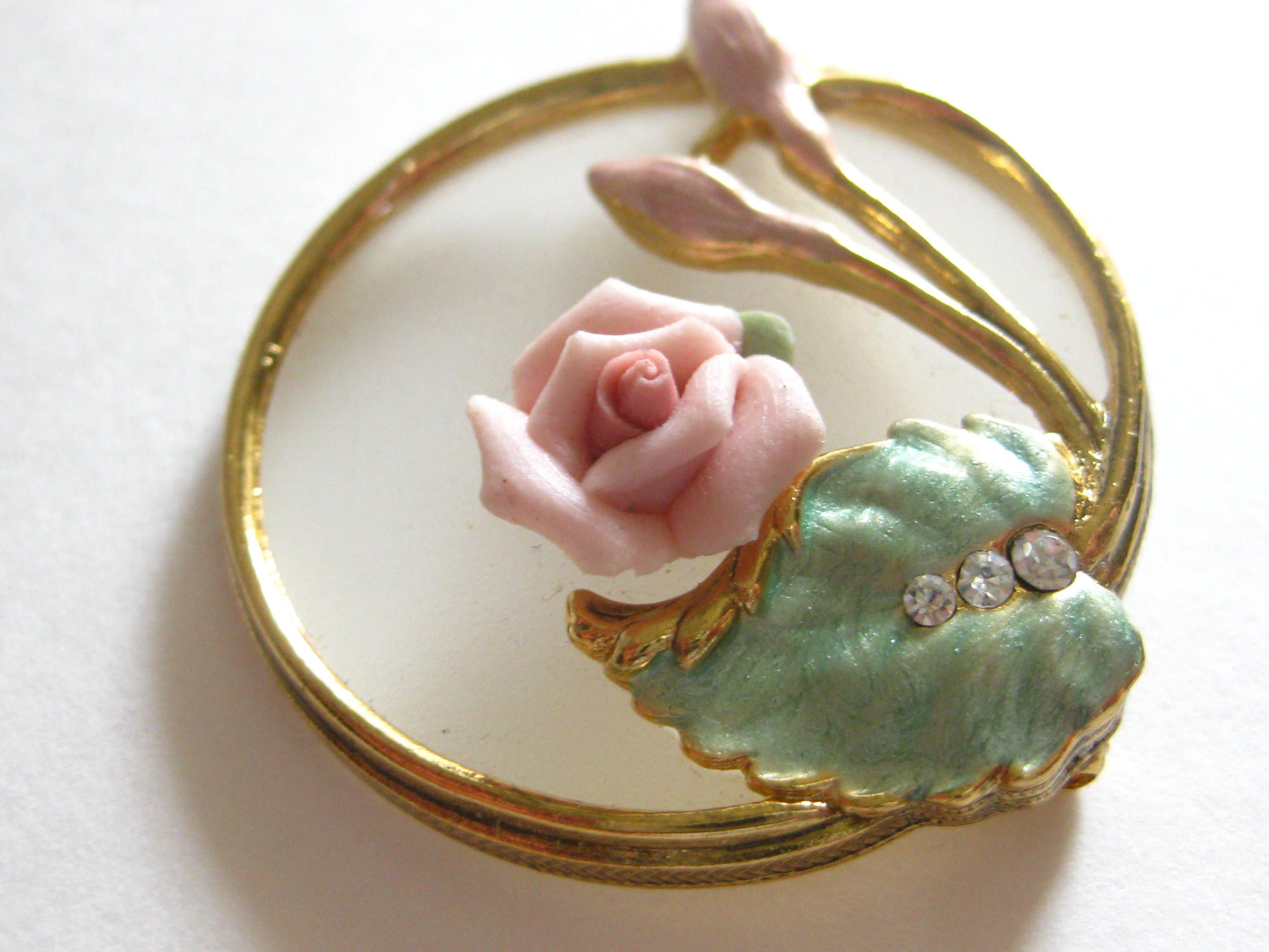 30s-40s Vintage retro engraved pin with rose