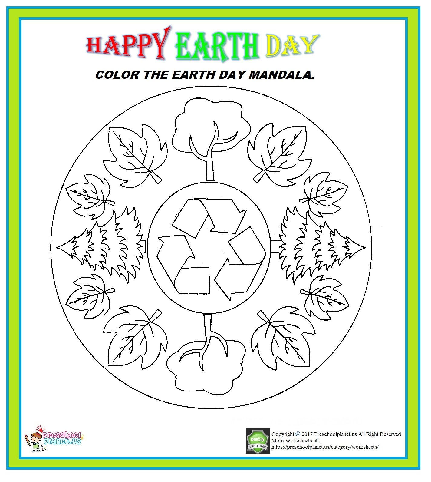 Earth Day Mandala Worksheet