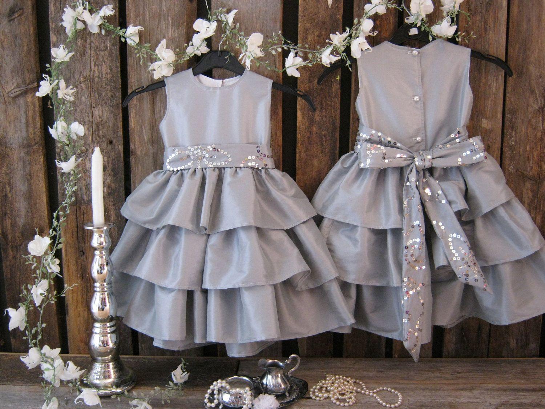 Silver flower girl dress grey girls ruffle dress winter wedding