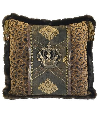Luxury Accent Pillow Renaissance Jeweled Crown 40x40 Denenecek New Jeweled Decorative Pillows