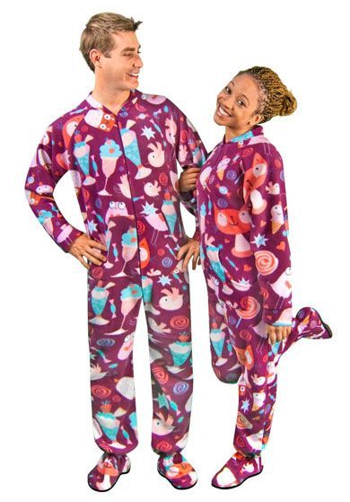 3cb4a2f8b Cats, Candy & Ice Cream Fleece Footed Pajamas with Drop Seat ...