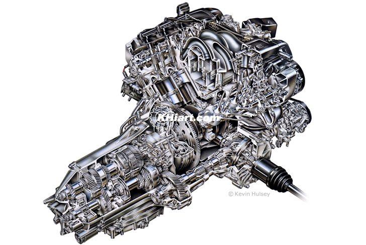 v6 cutaway car engine