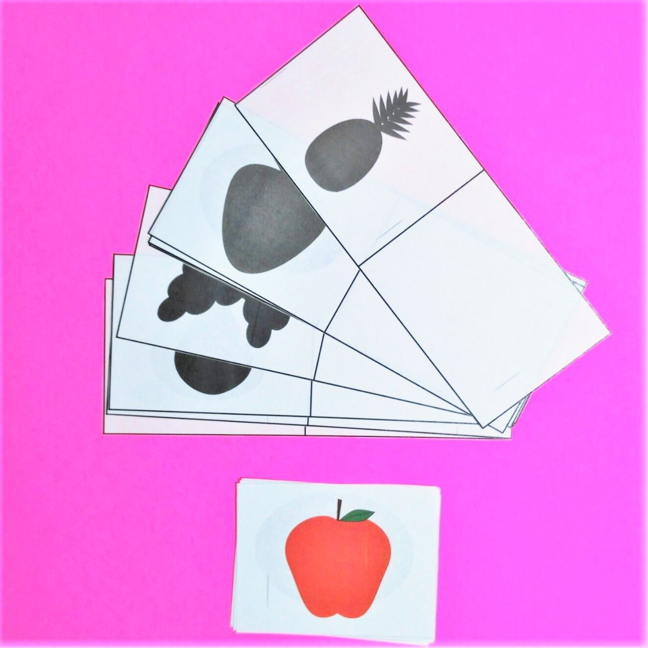 Silhouette Matching activity Fruits keywords shadow