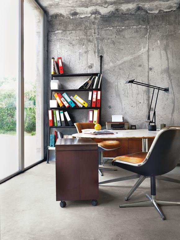 home office with original concrete wall sign me up