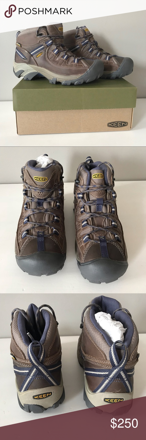 4ab763e1dfa6 Keen NEW Targhee II Waterproof mid hiking boot 9.5 Keen Targhee II mid  waterproof shoes size 9.5 women Goat brown Crown blue Brown leather with  blue accents ...