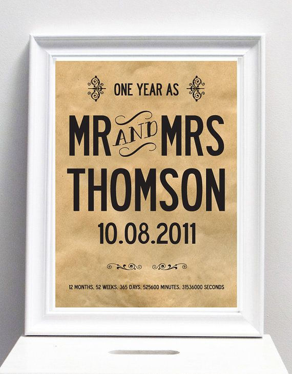 Paper Wedding 1 Year Personalized Anniversary By Ilovedesignlondon