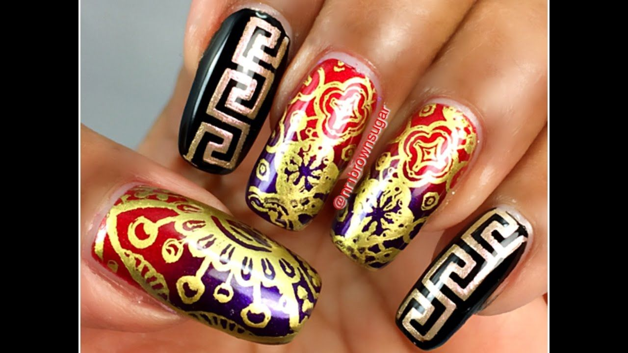 Abstract design using what\'s up nails plate and vinyls ...