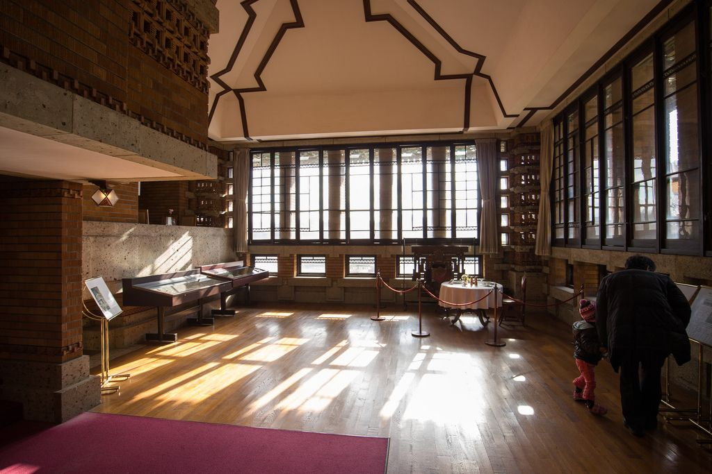 Imperial Hotel. Frank Lloyd Wright. Tokyo, Japan. 1916. (Demolished). Lobby reconstructed. Photo ©2013, Evan Chakroff.