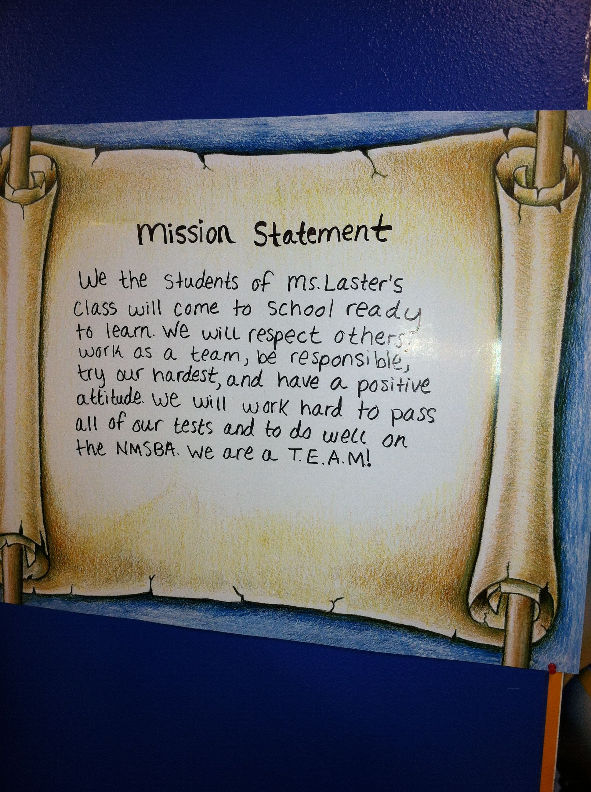 Class Mission Statement 5th Grade Mission Statement Examples Class Mission Statement Personal Mission Statement Examples