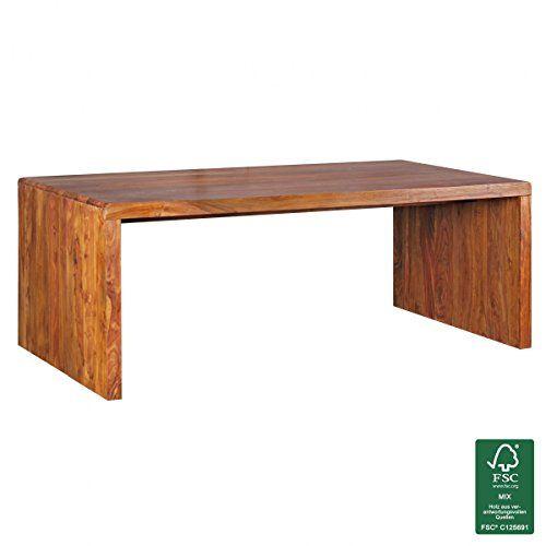 WOHNLING Schreibtisch Massiv Holz Sheesham Computertisch 200 Cm Breit  Echtholz Design Ablage Büro Tisch
