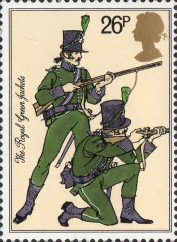 British Army Uniforms 26p Stamp (1983) Riflemen, 95th Rifles (The ...