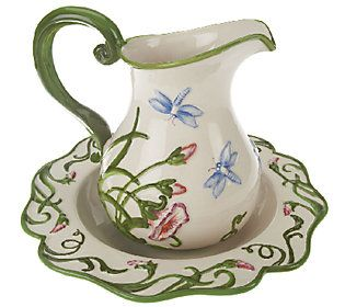 Temp-tations Figural Dragonfly Pitcher and Bowl Set