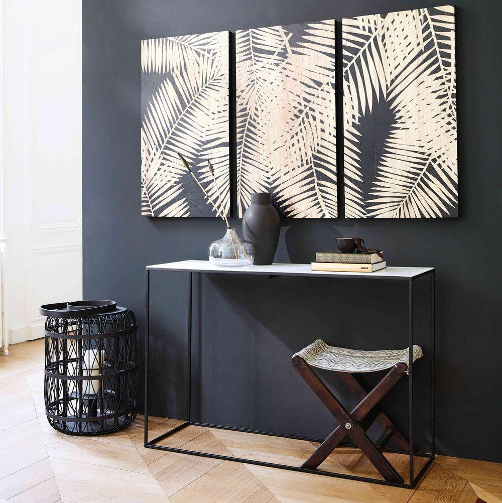 triptyque grav motifs feuilles l150cm