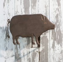 """Metal Pig Wall Hanging 66.00  The perfect metal pig wall hanging.  Brown in color and just the right amount of spunk on his face and tail.  23.25""""L X 13.75""""W X 6.25""""H, METAL"""