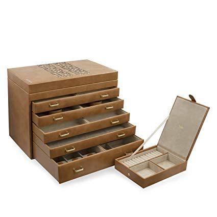 9ec6fcc96 Glenor Co Extra Large Jewelry Box Organizer - 42 Slot Classic Holder w  Modern Closure,