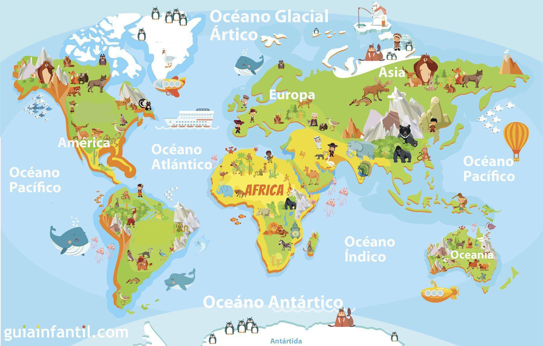 Mapamundi para nios de primaria montessori social studies and mapamundi de ocanos y continentes para imprimir gumiabroncs Image collections
