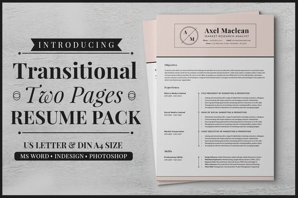 Transitional Two Pages Resume Pack \u2022 Available here →   - resume u of t