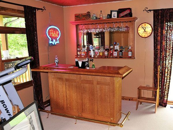 Simple bar 31 hassle free home bar ideas family room pinterest bar men cave and basements - House bar ideas ...