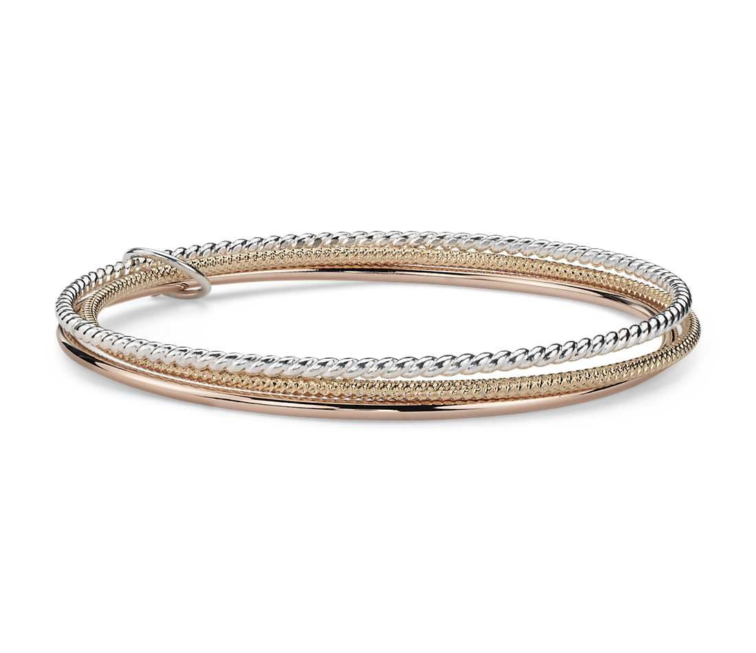 Twisted Bangle Bracelets in Yellow Gold Vermeil Rose Gold Vermeil