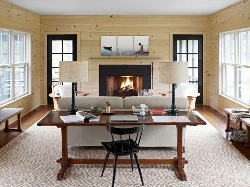 A Modern Country Getaway Desk In Living Room Living Room Office Country Living Room