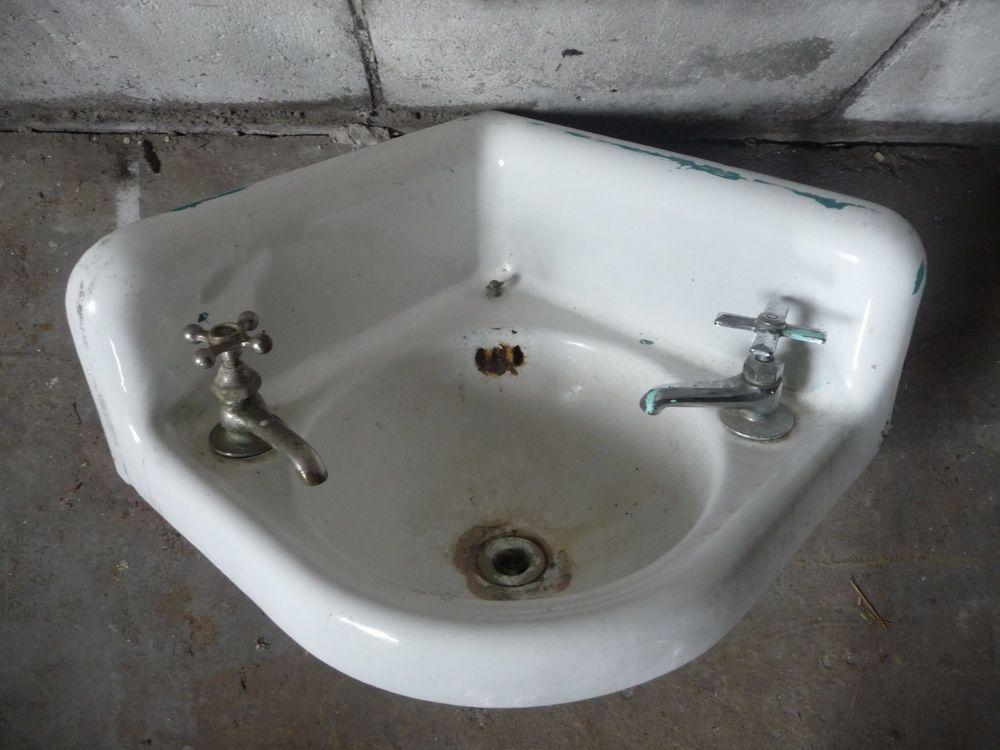 Antique Victorian Corner Bathroom Lavatory Sink - C. 1915 ...