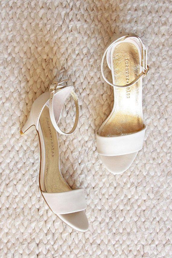Ladies Ivory Low Heel Wedding Shoes Bridal Comfortable Kitten Heels Style True Romance
