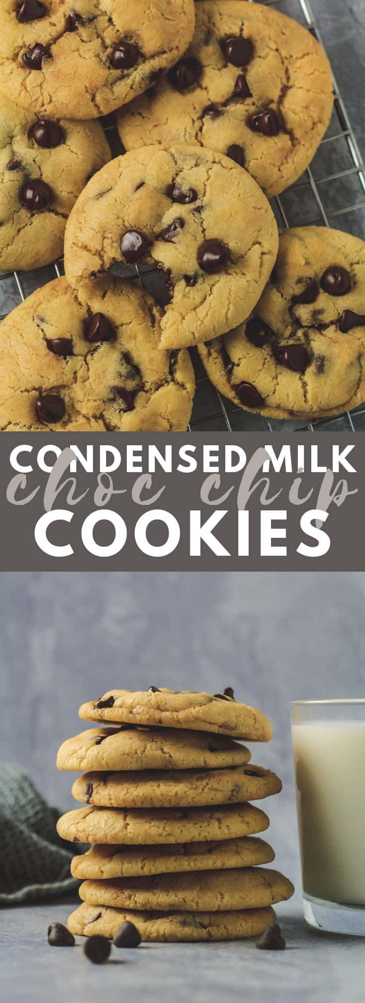 Condensed Milk Chocolate Chip Cookies Incredibly Thick Soft And Chewy Coo Milk Chocolate Chip Cookies Cookies Recipes Chocolate Chip Chocolate Chip Cookies