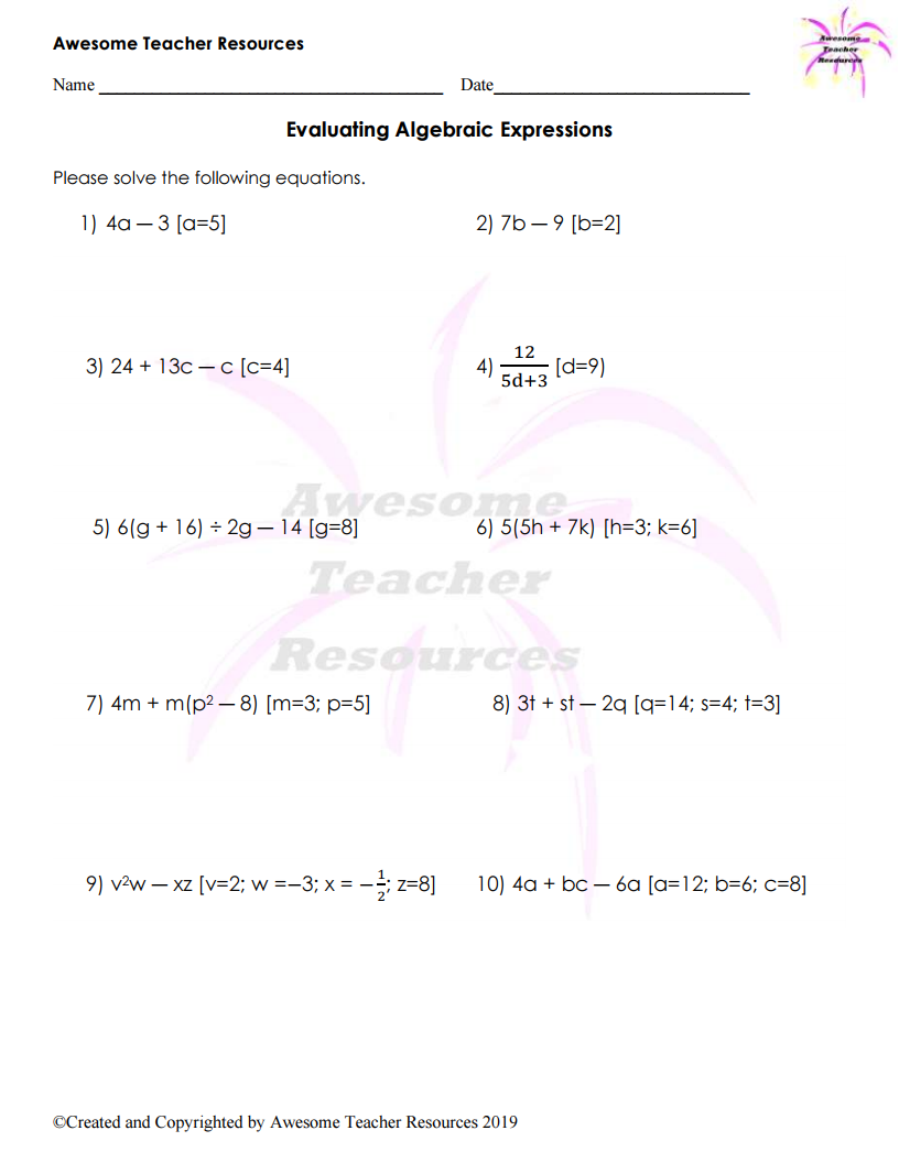 Operations Worksheets For Middle School Algebra Worksheets Evaluating Algebraic Expressions Algebraic Expressions [ 1056 x 816 Pixel ]