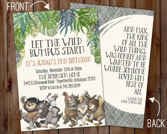 Where The Wild Things Are Birthday Invitation Wild One Birthday Boy