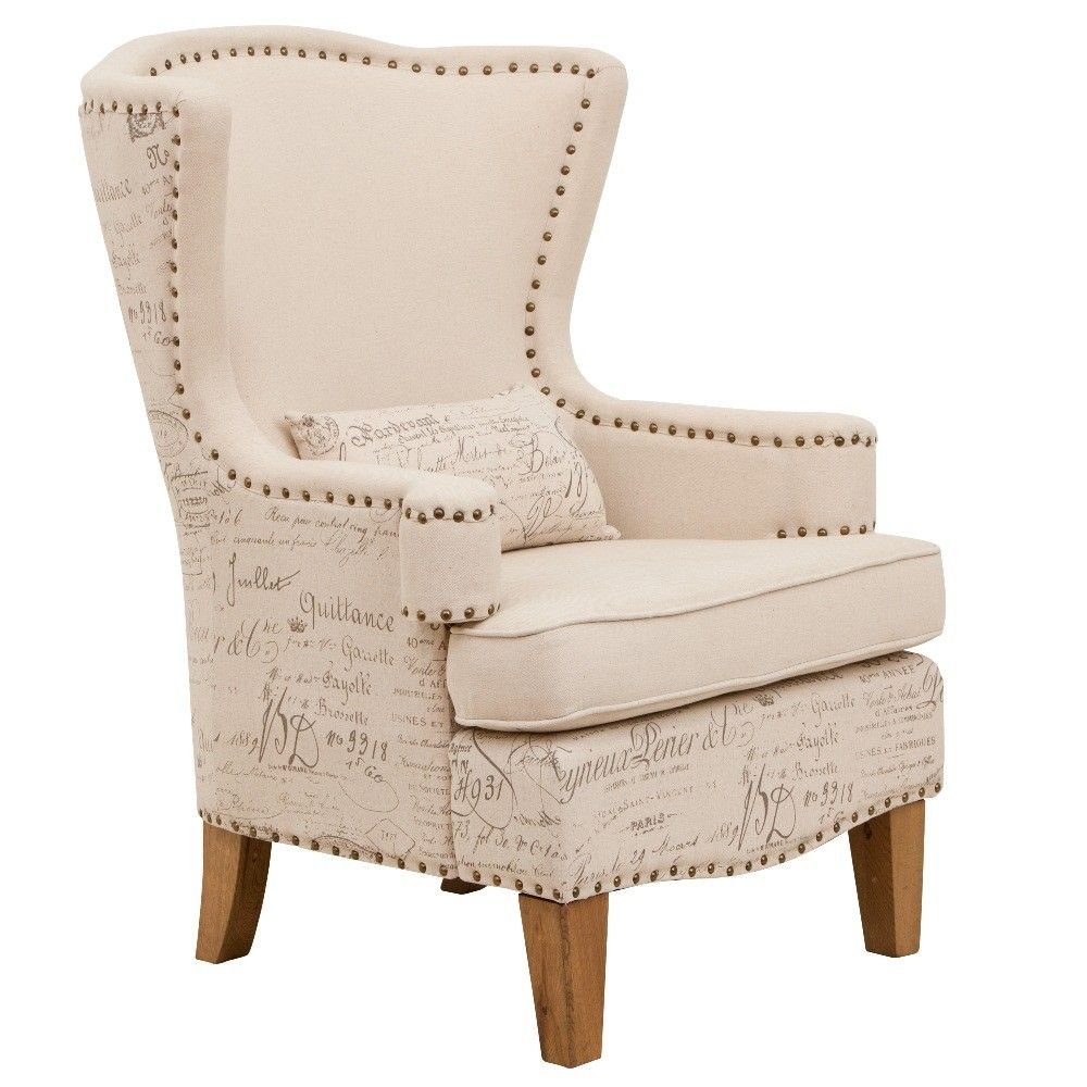 Far Pav   Azure Occasional Chair Cream Fabric French Writing U003e $399.00