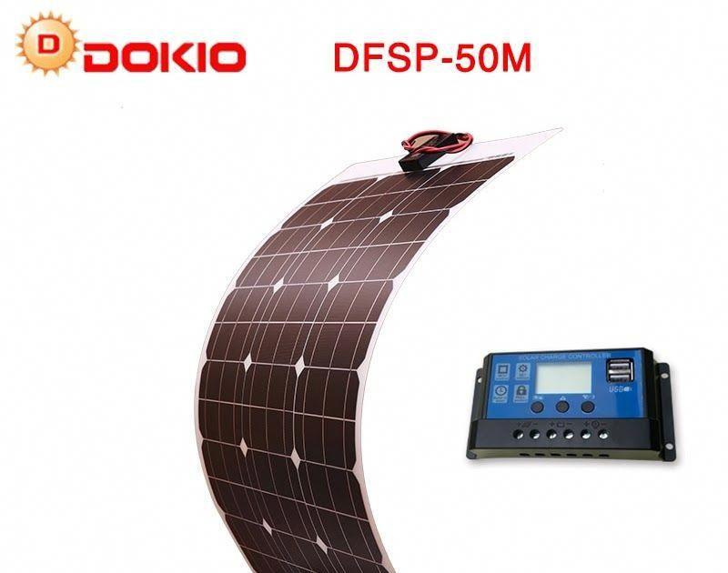 Best Seller Dokio Brand 50w 18v Flexible Solar Panel China 10a 12v 24v Controller 50 Watt Flexible Panels Solar System Kit Solar Panels Flexible Solar Panels