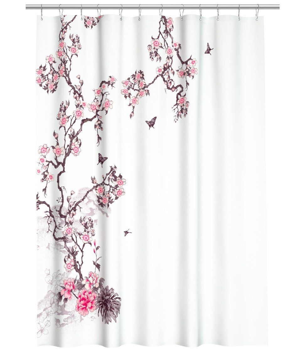Water Repellent Fabric Shower Curtain Botanical Nature Floral Branches Design