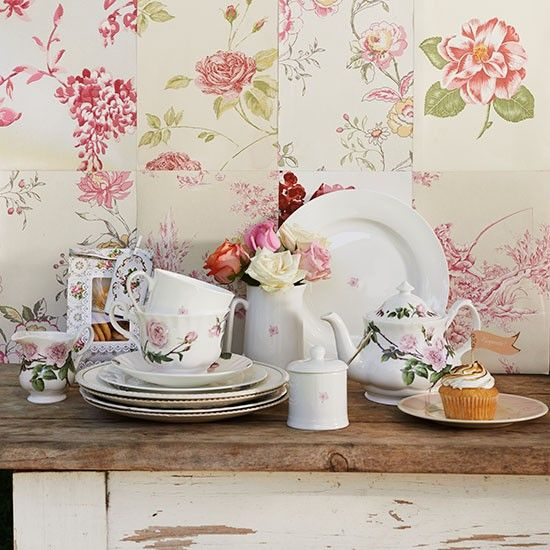 Shabby Chic Kitchen With Floral Wallpaper