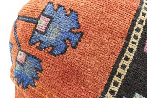Turkish Rug Pillow 20x20, Round Ottoman Pillow, Embroidered Pillow,Cushion Cover,Orange Pillow,Throw