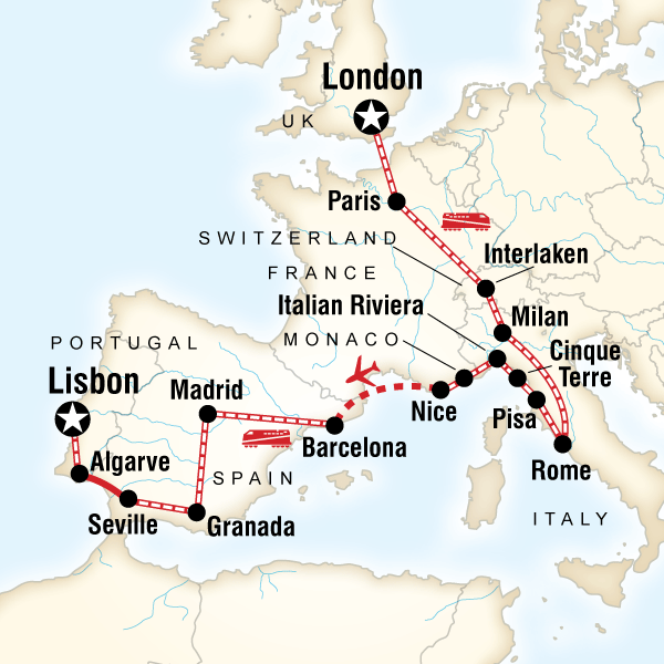 Map Of The Route For London To The Mediterranean On A Shoestring Mediterranean Travel Backpack Europe Route Europe Train
