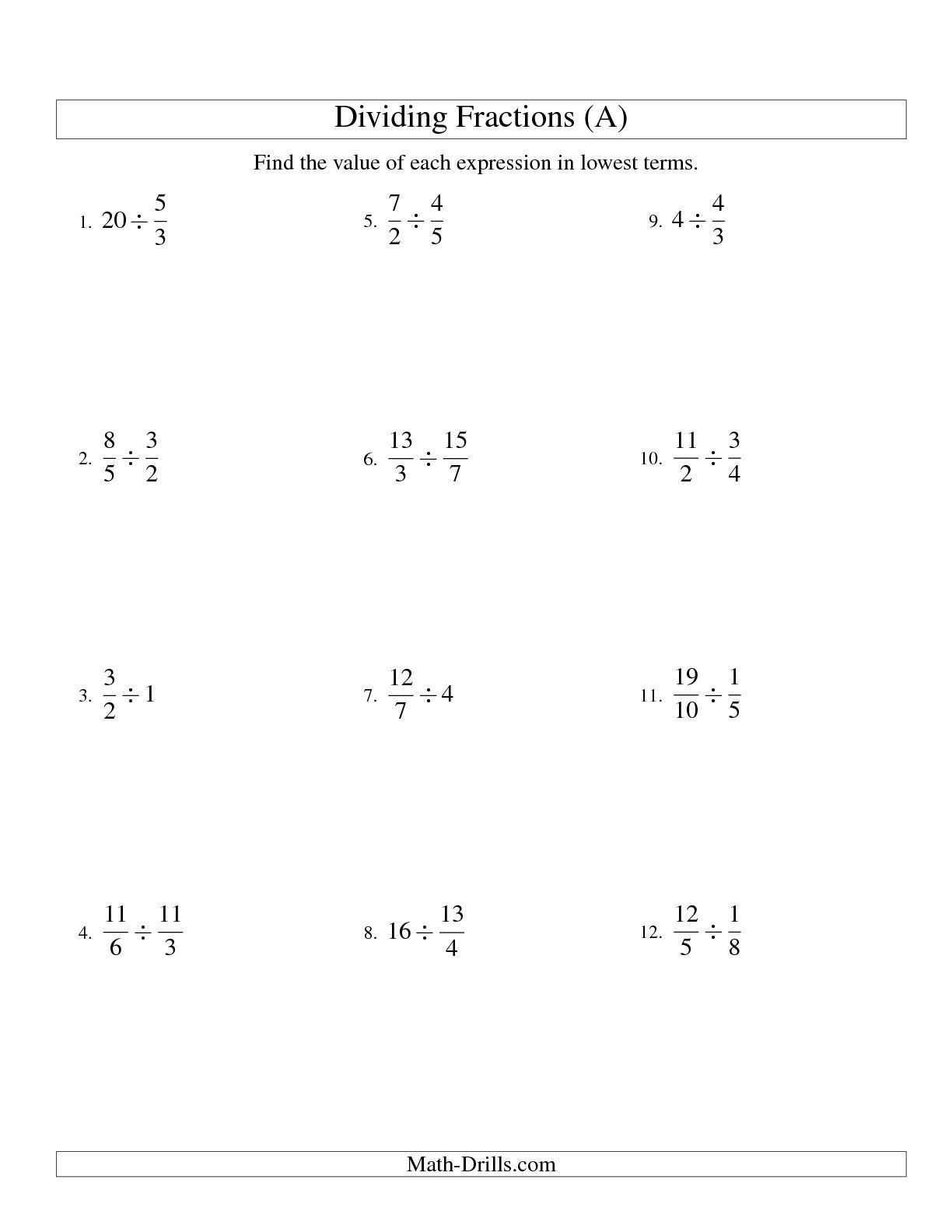 The Dividing And Simplifying Fractions With Some Whole Numbers A Math Worksheet From The
