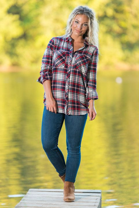 """""""Plaid Pursuit Top, Red-Navy"""" This cotton button down is everyone's favorite flannel this season! We are so obsessed with it's classic colors that we can't wait for colder weather! #newarrivals #shopthemint"""